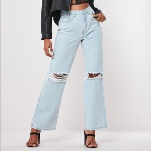 Missguided Blue Distressed Straight Jeans